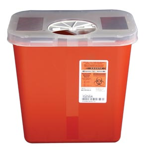 Red Sharps Container w/AutoDrop™ Rotor Lid, 2 Gallon