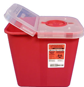 Red Sharps Container w/Hinged Lid: 2 Gallon