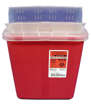 Red Sharps Container w/Horizontal-Drop Lid: 2 Gallon