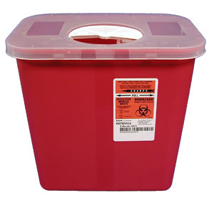 Red Sharps Container w/Rotor Lid: 2 Gallon