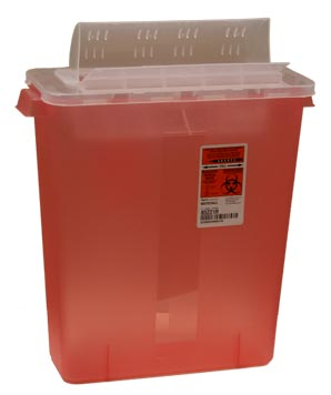 Transparent Red Container with Always Open Lid: 3 Gallon