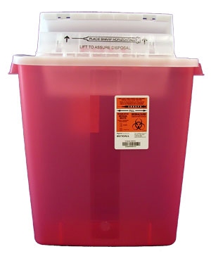 Transparent Red Container with Counter Balance Lid: 3 Gallon