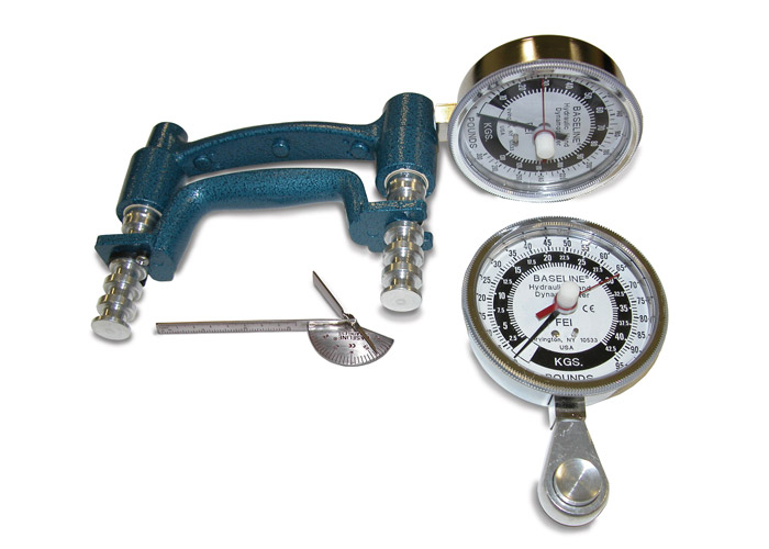 3-Piece Hand Evaluation Set: Dial Gauge Dynamoter 200 lbs