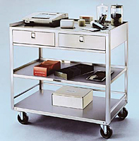 Item # 474, Stainless Steel Equipment Cart Stand - Two Drawers