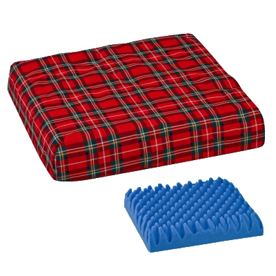 "Convoluted Foam Chair Pad with Cover, Plaid, 16"" x 18"" x 4"""