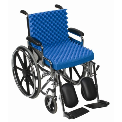 "Convoluted Foam Chair Pad with Back, Blue, 18"" x 32"" x 3"""