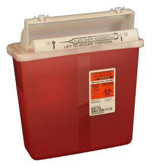 Transparent Red Sharps Container: 5 Quart