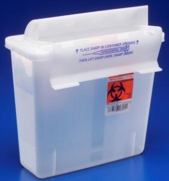 85021 In-Room™ Sharps with Mailbox-Style Lid, 2 Quart Clear