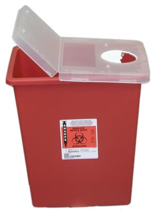 Red Sharps Container - Hinged Lid: 8 Gallon