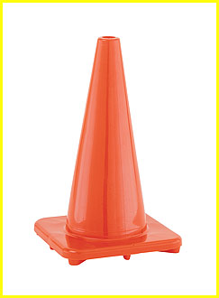 Hi (High) Visibility Flexible Vinyl 18 inch Cone, Orange