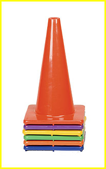 Hi (High) Visibility Flexible Vinyl 18 inch Cone, Set of Six