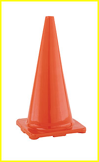 Hi (High) Visibility Flexible Vinyl 28 inch Cone, Orange