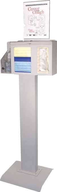 Deluxe Locking Respiratory Hygiene Station with Heavy Duty Kiosk