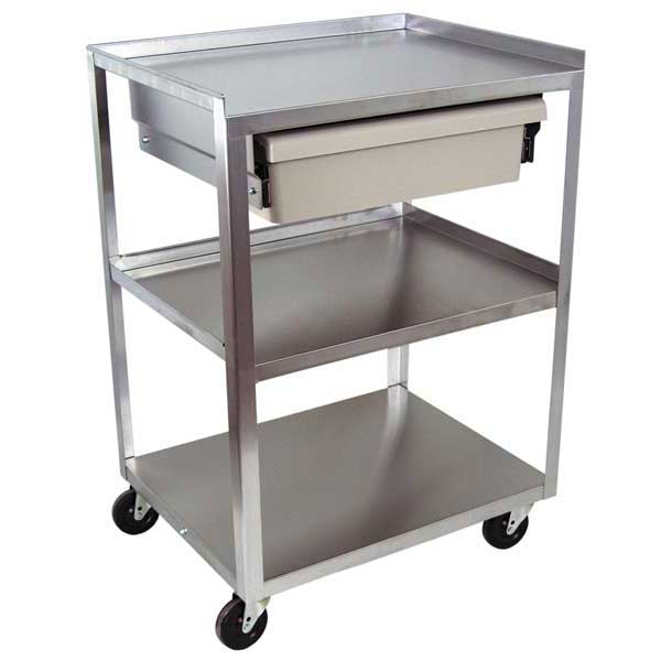 MC21ED Stainless Steel 3 Shelf Cart w/Economy Drawer