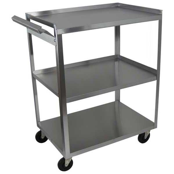 MC311 Stainless Steel 3 Shelf Utility Cart w/Handle
