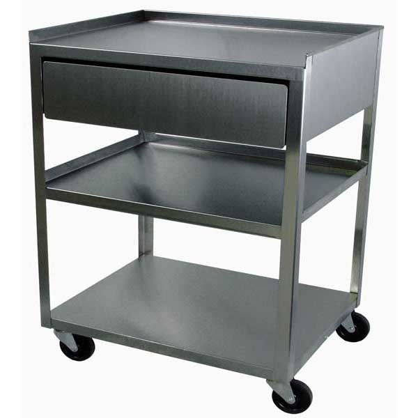 MC31D Stainless Steel 3 Shelf Cart w/Drawer