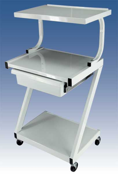 "Z99T ""Z"" style side-legs Cart, Drawer & Extra Shelf"