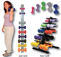color-coded vinyl coated solid iron dumbbell, 15lb.