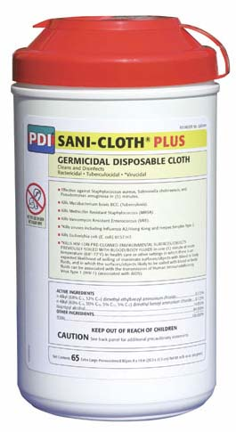 Sani-Cloth® Plus Canister XL Low-Alcohol Wipes (65)